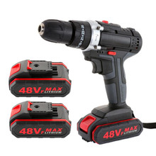 48VF Electric Drill Impact Drill Cordless Screwdriver Wireless Power Driver Lithium Battery Wrench Wireless Electric Drill Set