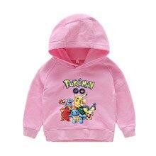 купить Kids Cartoon Sweatshirt Cotton POKEMON Pikachu Boys Girls Cosplay Costumes Long sleeve hoodies T-shirt Hooded Cloth Size 2-10y дешево