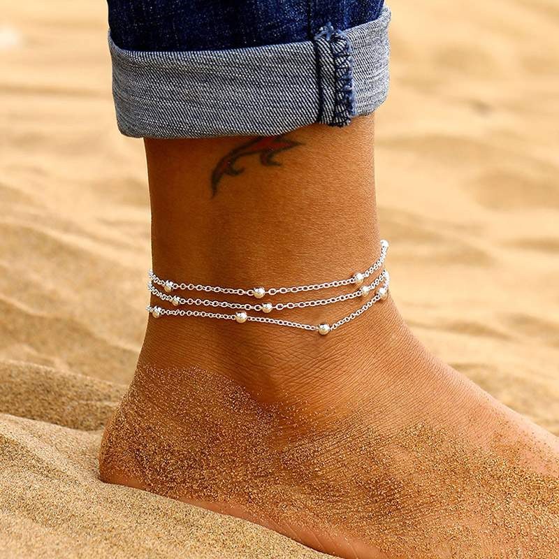 USTAR boho Layered Chain Beads Anklets for Women Adjustable Stainless Steel Foot Bracelet Anklet Summer Sandals Jewelry