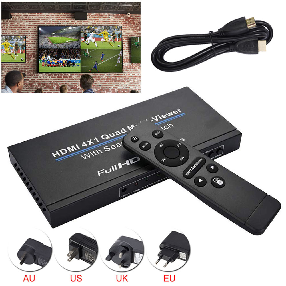 HDMI 4x1 Quad multi-viewer Switcher completo 1080p interruttore Multiviewer senza soluzione di continuità convertitore Splitter schermo IR 5 modalità per PC/STB/DVD
