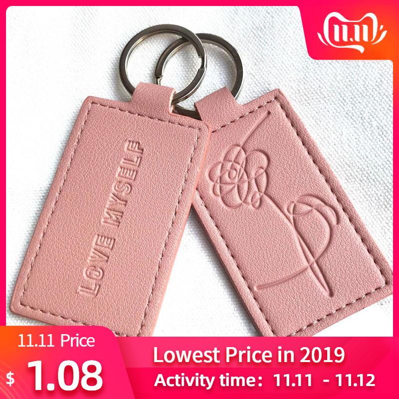 KPOP Keychain Pink Bangtan Boys Lanyard Love Myself Key Chains RAPMONSTER V JUNGKOOK JIMIN JHOPE RM Keyring Accessories
