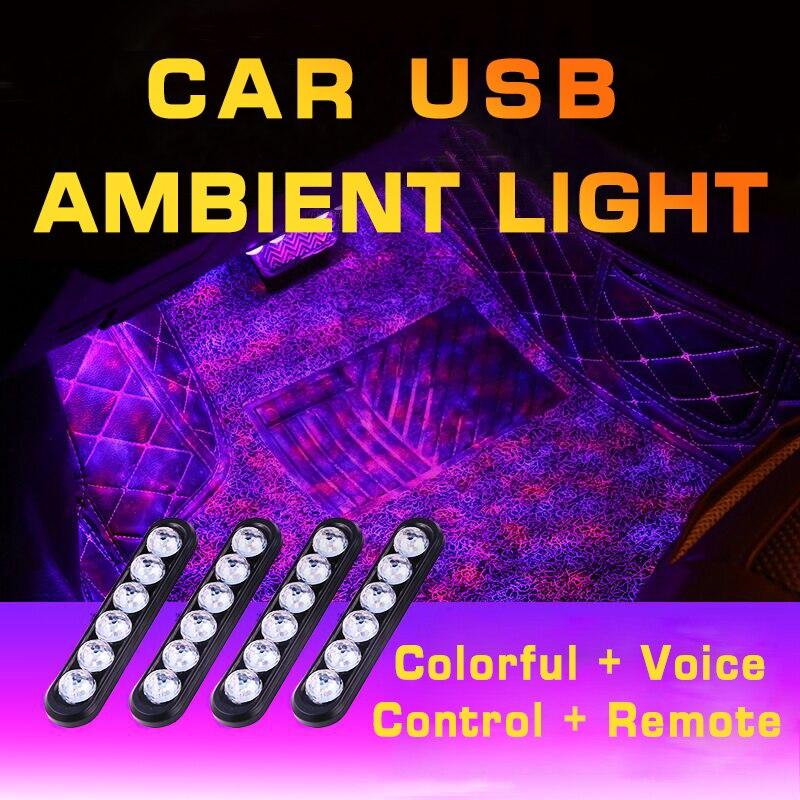 USB 24 المصابيح سيارة القدم ضوء المحيطة عن بعد الديكور مصباح ل ديسكفري رينج روفر Evpque المدافع 3 4 فيلار فريلاندر الرياضة