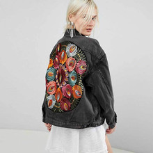 Denim Jacket Boho Oversized Multi Floral Embroidered Long Sleeve Casual Chic
