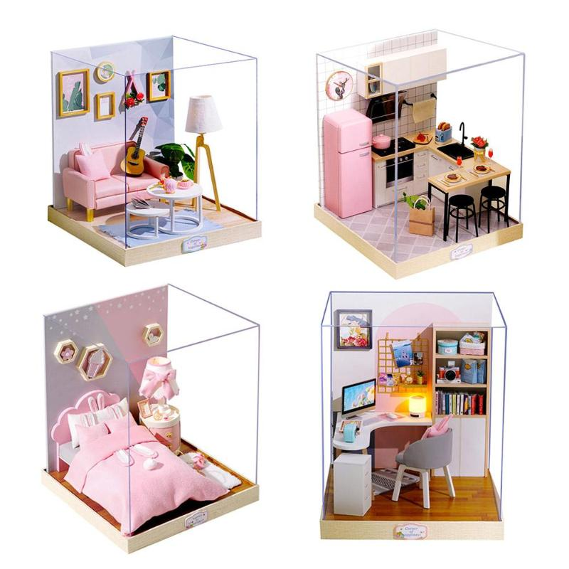 Educational Toys Miniature Doll Lightweight Houses DIY Wooden Miniatura Doll Houses Miniature Dollhouse Toys With Led Lights