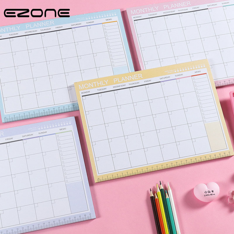 EZONE A4 Monthly Plan Notebook Weekly Plan Notebook Table Planner Schedule Book Simple Style Adhesive Memo Pad Office Stationery