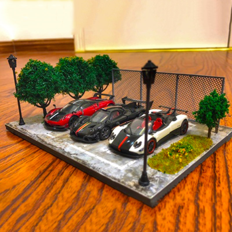 1:64 Two Parking Spaces Parking Lot Area Scene Simulation Set Traffic Tools Vehicle Car Model Accessories Platform Block Toys