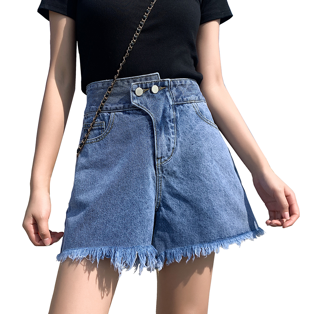 Summer New Cool Women Denim Shorts Fashion Tassel Burr Hem Shorts High Waist Wide Leg With Pockets Casual Ladies Shorts Jeans