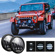 2PCS 7 Inch Round 13 LED With DRL Headlight Bulbs Sealed Truck Headlamp Auto 12V 280W Waterproof High/Low Beam For SUV