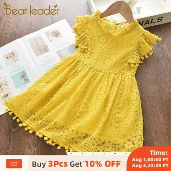 Bear Leader Girls Dress 2020 New Summer Brand Girls Clothes Lace And Ball Design Kids Princess Dress Party Dress For 3-7 Years new lace girls dress retro embroidery long sleeve christmas clothes girls party dress teenagers princess dress 3 13 years ca341