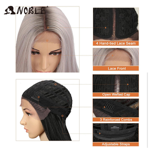 Image 5 - Noble Cosplay Synthetic Lace Front Wig Short Bob Straight 14 Inch Pink Lace Front Blonde Wigs Lace front Wigs For Black Women