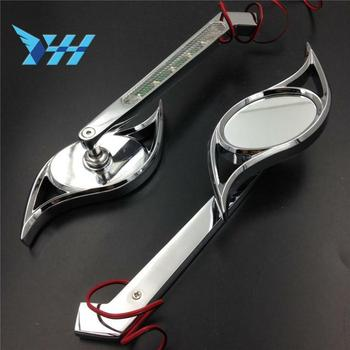 Motorcycle LED Turn Signal Integrate Side Rearview Mirrors Hurricane Style Chrome For Honda For Kawasaki For Suzuki For Yamaha