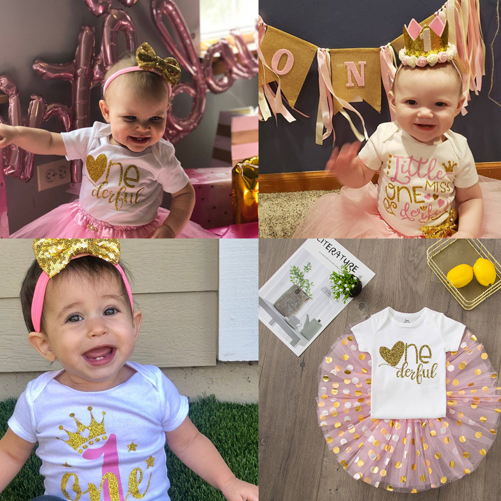 ONEderful Birthday Pink Gold Outfit 1st Birthday Party Girls Outfits Cake Smash Tutu+baby Bodysuits Summer Set Fashion Wear 1