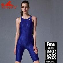 Yingfa fina aprovado competição na altura do joelho à prova dwaterproof água cloro resistente banho feminino sharkskin maiô de uma peça