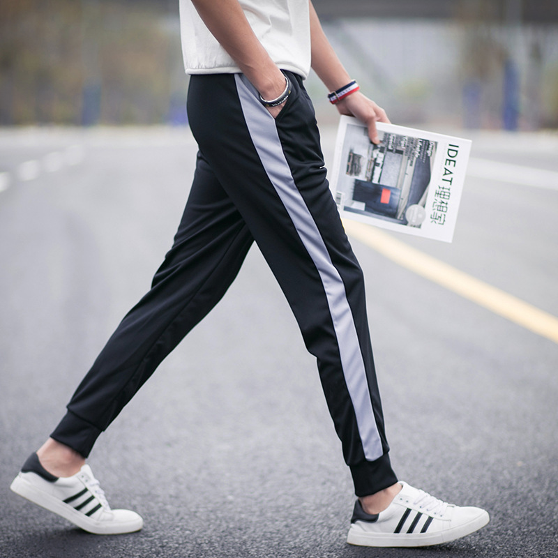 MEN'S Pants Korean-style Casual Versatile Summer Trend 9 Sub-Loose-Fit Skinny Athletic Pants Hong Kong Style Capri Pants