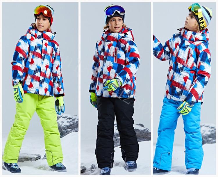 Jaqueta de esqui infantil engrossado terno ao