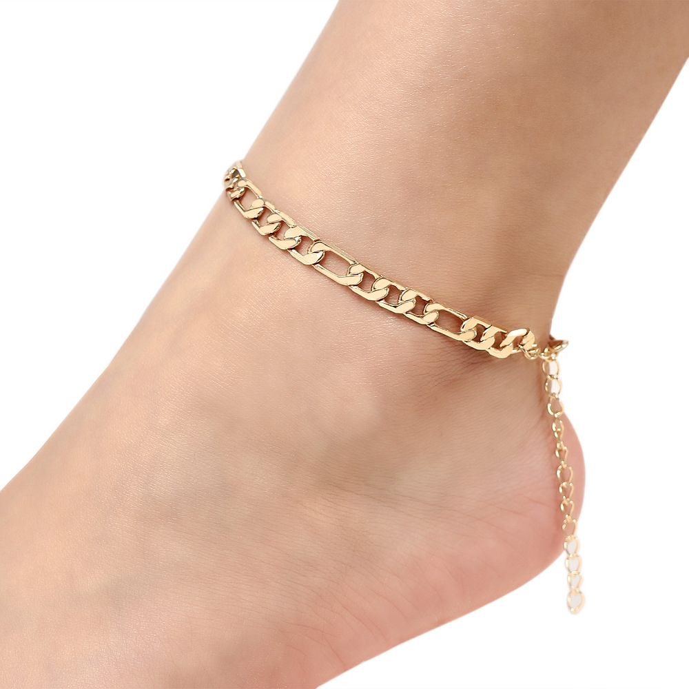 Women Summer Sexy Anklet Ankle Bracelet Beach Crochet Sandals Golden Cuba Link Chain Anklet Foot Pulsera Tobillo For Women Halha image