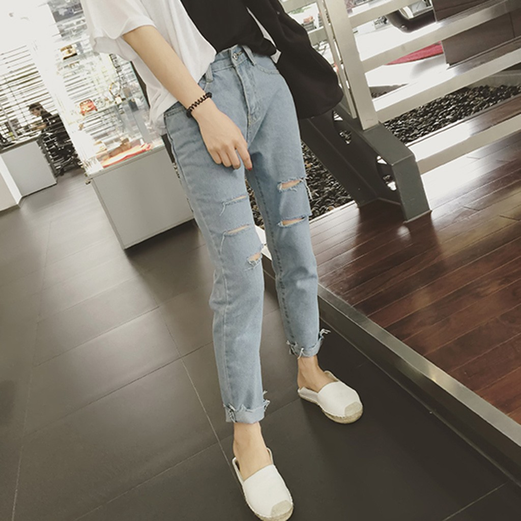 Jeans Female Denim Pants Mujer Casual Korean New Harlan Wild Hole Loose Version-Of-The-Ankle-Length