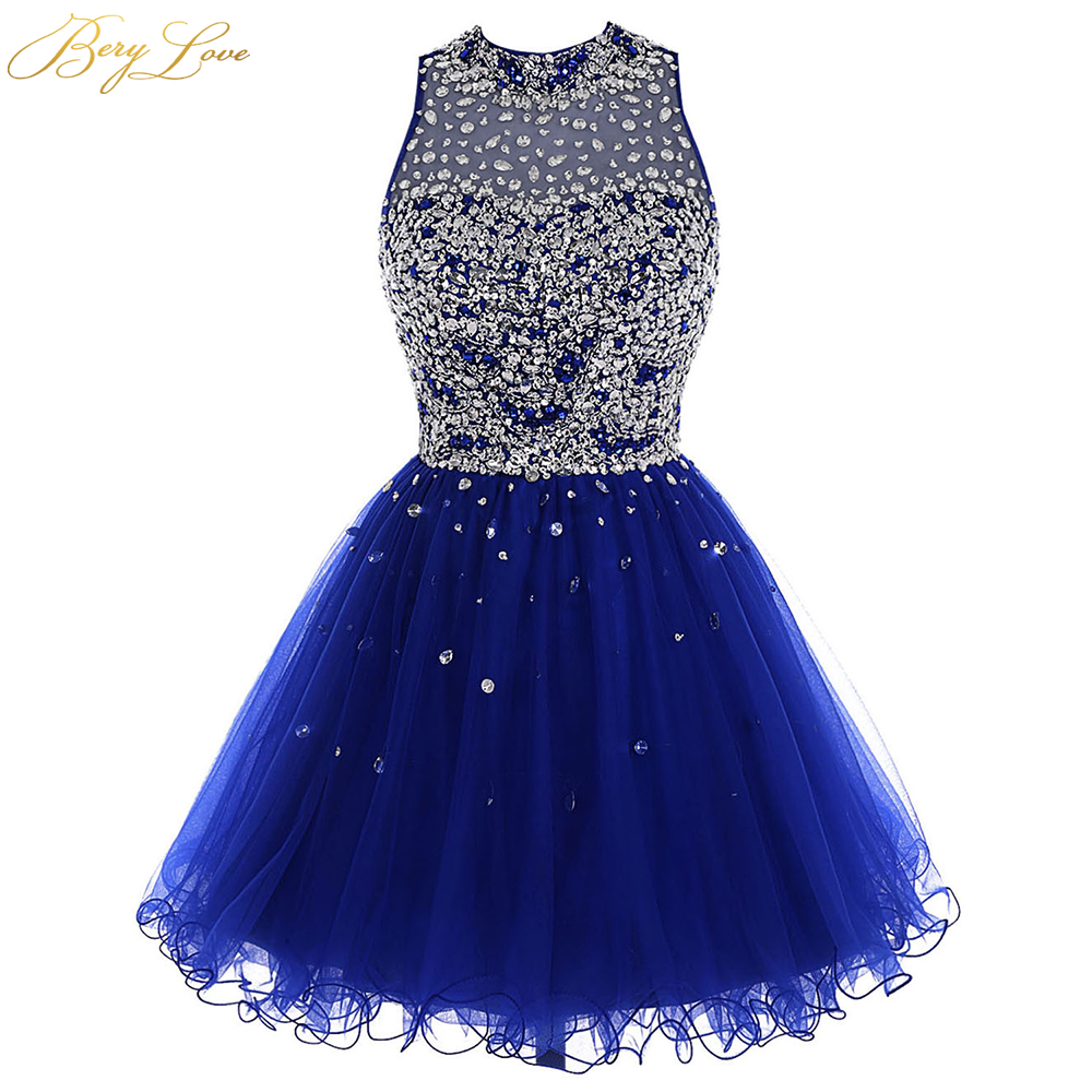 Luxury Bead Homecoming Dress 2020 Royal Blue Mini Crystal Sequin Tulle Short Girl Gown Prom Dress Key Hole Back Mini Party Dress