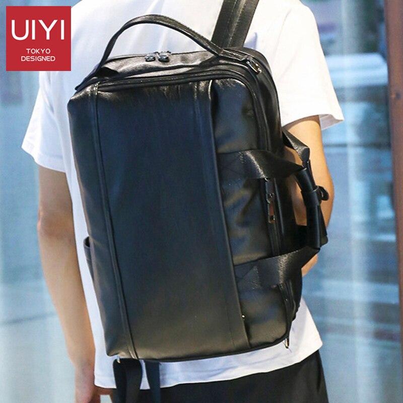 Multifunctional Men PU Leather Backpack Large Capacity Outdoor Polyester Shoulder Bag Business Computer Travel Bag Shoulder Bag