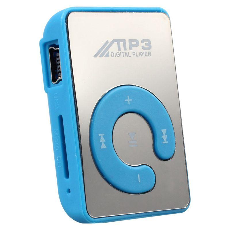 Mini Mirror Clip USB Digital Mp3 Music Player Support 8GB SD TF Card Blue