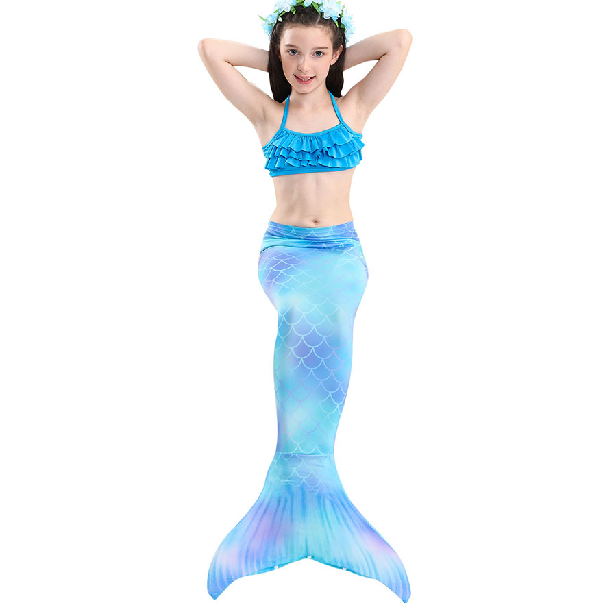 H100f12ccfe4f4766a198a270881fa8b48 - Kids Swimmable Mermaid Tail for Girls Swimming Bating Suit Mermaid Costume Swimsuit can add Monofin Fin Goggle with Garland