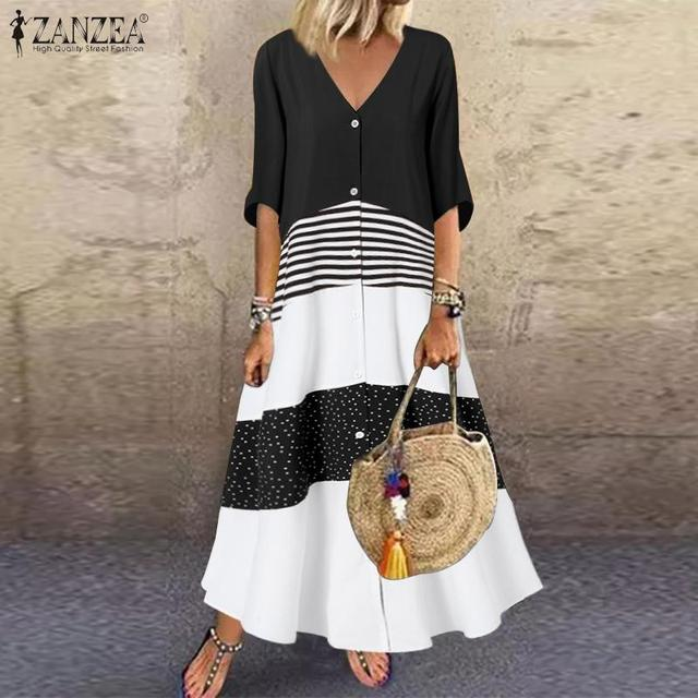 casual and fun, long stripes, button top dress 2
