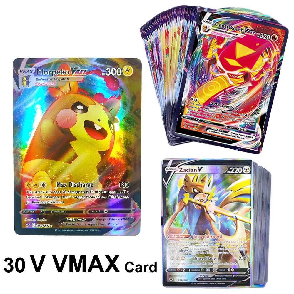 30 sztuk Pokemon V VMAX świecące karty angielski TAKARA TOMY Trading gra bitewna kolekcja kart Booster Box dzieci dzieci zabawki prezent
