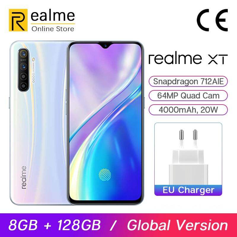В наличии глобальная версия Realme XT телефон 8 ГБ 128 Гб мобильный Snapdragon 712 AIE 6,4 дюйма 64 мп Quad Cam 4000 мАч 20 Вт VOOC Быстрая зарядка