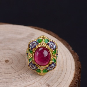 FNJ Пион цветок кольца 925 серебро регулируемый размер открытый S925 твердое Серебряное кольцо для женщин ювелирные изделия желтый халцедон