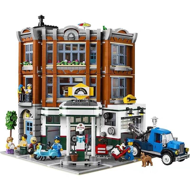 2569 pièces coin Garage ville rue vue créateur série blocs de construction Compatible avec Legoinglys rue cadeau de noël
