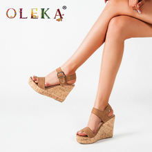 OLEKA2020 Rome Wedge Sandals Women 's Large Size Women 's Shoes Fashion Khaki Women 's platform sandals designer shoes AS58 enzo angiolini women s dixy3 platform pump