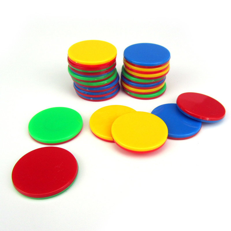 10Pcs/Lot 25mm Two Double Side Color Blank Plastic Poker Chips Casino Marker Fun Family Club Board Games DIY Toy Creative Gift