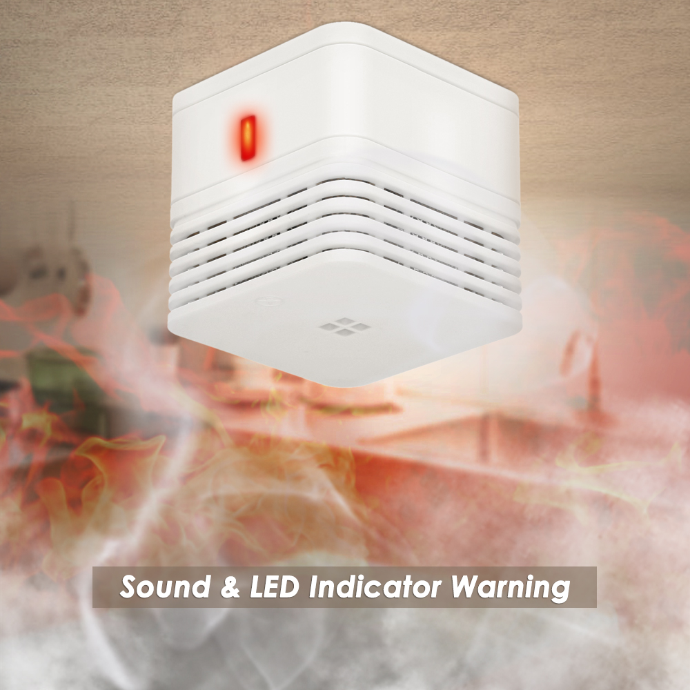 Mini Photoelectric Smoke Alarm 85dB Loud Sound Warning & LED Light Flashing Built-in 5-Years-Life Battery Smoke Alert Detector