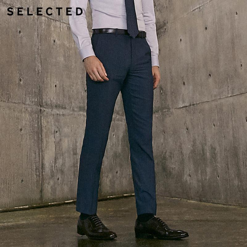 SELECTED Men's Slim Fit Dark Stripe Pattern Suit Pants T|41916A503