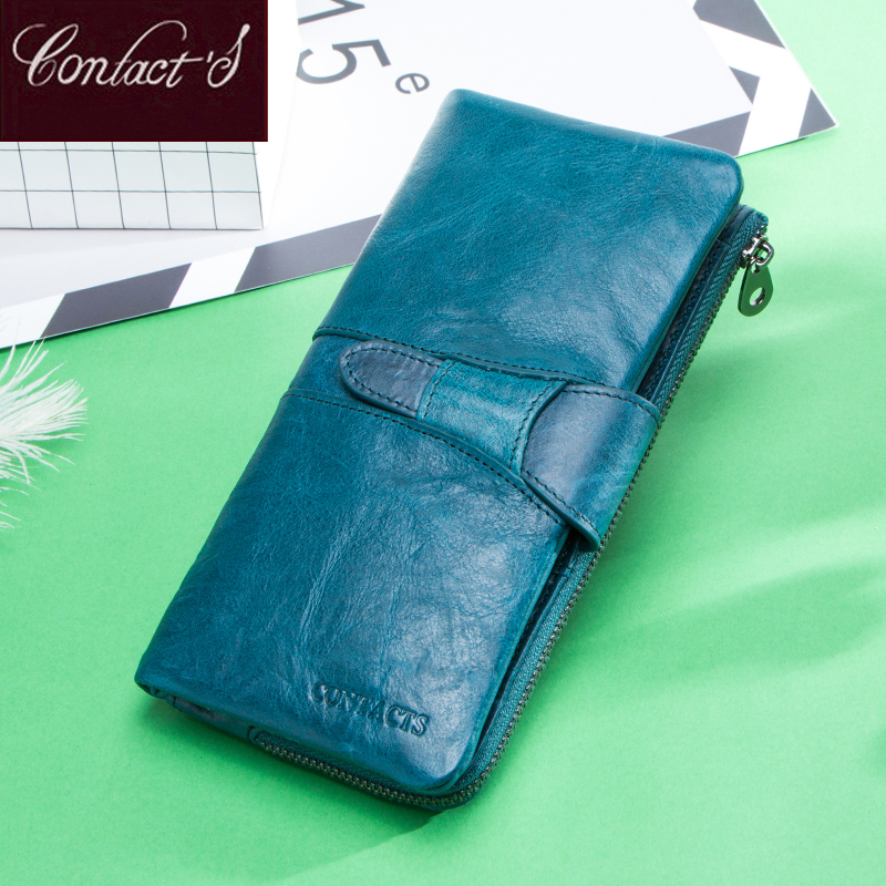 2020 Long Women Genuine Leather Wallets Luxury Lady Clutch Card Wallets Blue Cellphone Money bag Female Coin Purse Portafoglio