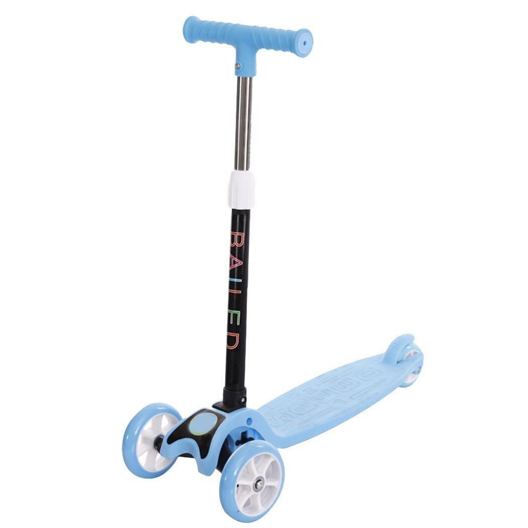 Trottinette enfant trottinette légère enfant trois roues vélo pliant curseur flash 3 tours de jouets d'extérieur 2-15 ans vélo