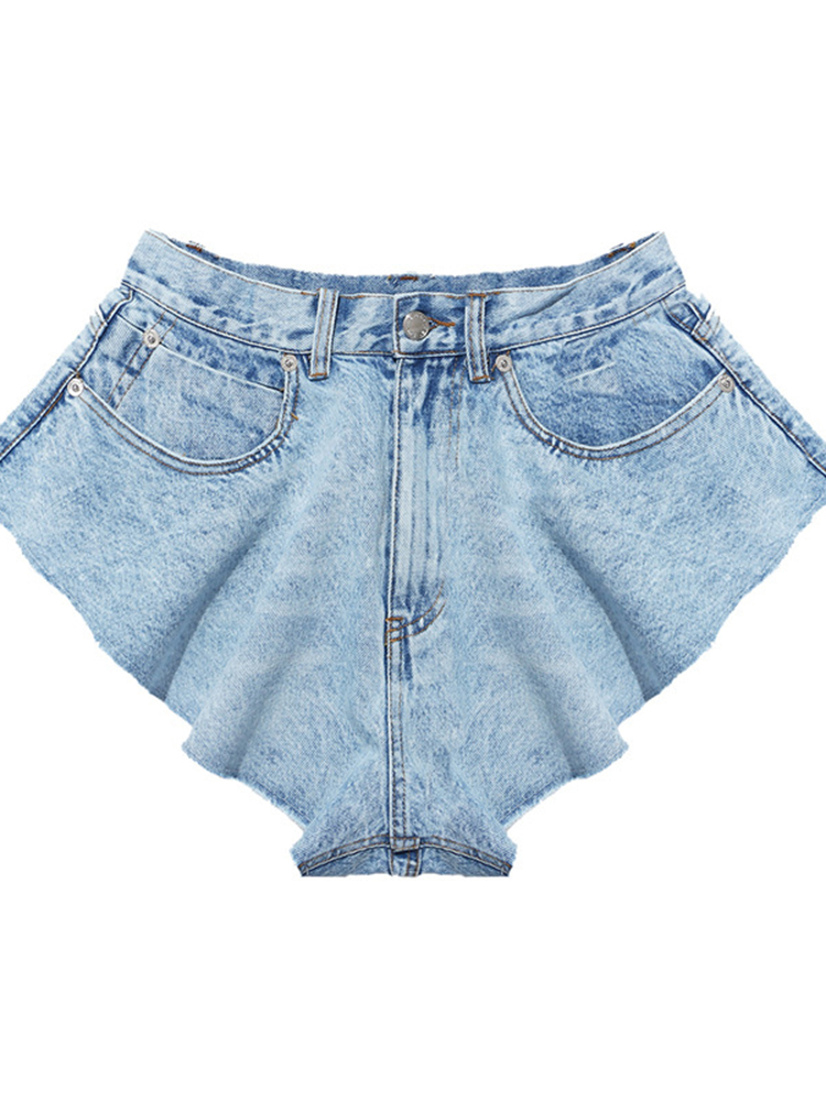 TWOTWINSTYLE Skirts Clothing Short-Pants Ruched Ruffle High-Waist Fashion Loose Female