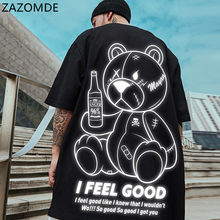 ZAZOMDE Summer Short Sleeve Cartoons Tee Oversized T Shirt Men Hip Hop T- Shirts Bear Printed Couple Clothes Streetwear Tops