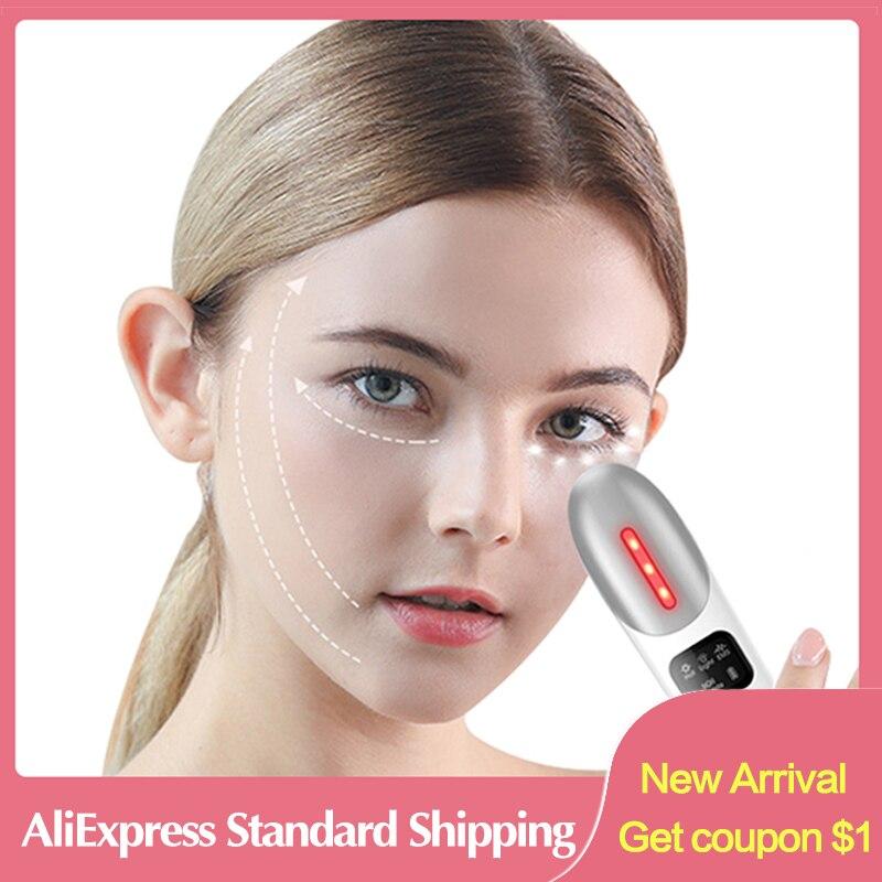 Eye Massager Electric Anti Wrinkle Eye Bag Dark Circles Removal Facial Massager Microcurrent Vibrating LED Screen Hot Massager