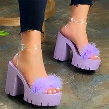 Sandales à talons hauts et épais pour femmes, chaussures de styliste décontractées à plateforme, grande taille, été, 2021