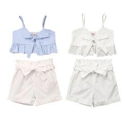 Pudcoco USPS/быстрая доставка, От 0 до 5 лет комплект одежды для маленьких девочек, жилет на бретелях топ и шорты Летняя одежда с бантом