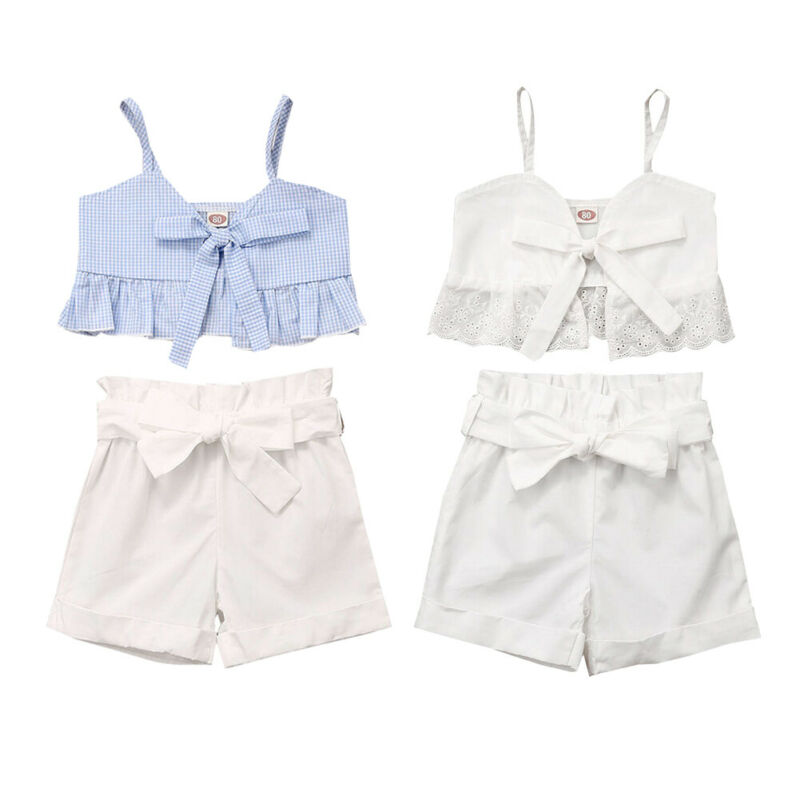 Pudcoco USPS Fast Shipping 0-5 Years Toddler Kids Baby Girls Clothes Set Strap Vest Top Shorts Summer Outfit With Bows