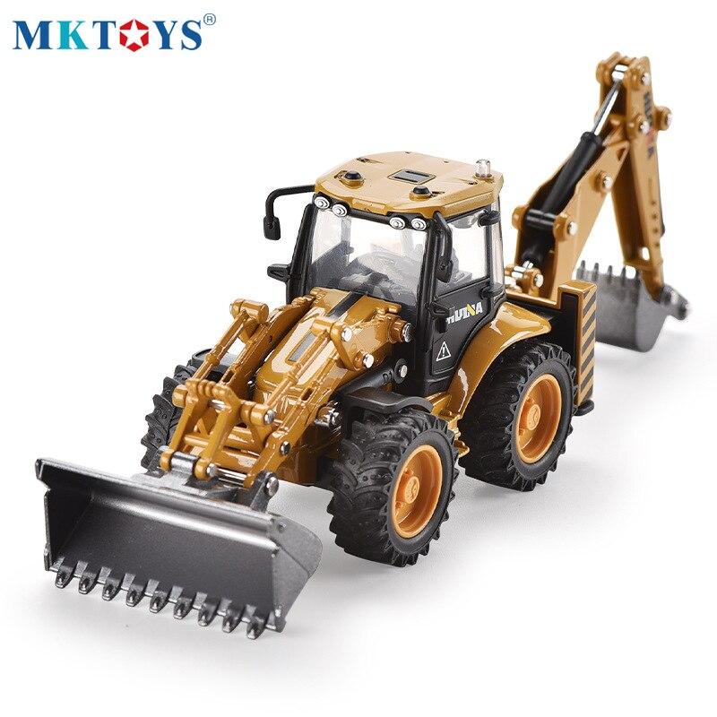 1:50 Alloy Diecast  4 Wheel Shovel Loader Two-way Excavator Forklift Bulldozer Back Hoe Loader Truck Model For Kids Gift Toys