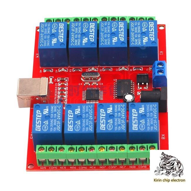 1pcs / Lot 8-way 12V Computer USB Control Switch Drive Free Relay Module PC Intelligent Controller