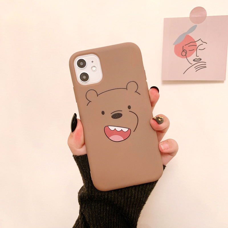 2020 Simple Cute Cartoon Animal Bear Cases For Iphone 11 11PROMAX 11PRO 7 8 7Plus 8Plus X XS XSMAX XR Lovers \\' Cases For Friend