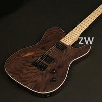 Electric Guitar Custom Series ASH Top Veneer Alnico Dual Ways Pickups Semi Hollow body Bone Nut Canada Maple Light Dots