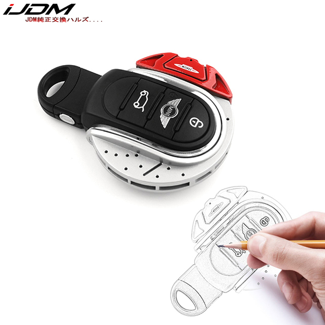Ijdmcy vermelho jcw disco de freio forma chave fob escudo capa para mini cooper 3rd gen f55 f56 f57 f54, gen2 f60 countryman chave inteligente