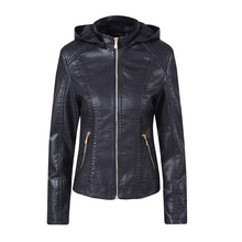 New Winter Women Hooded Zippered Coats Thicken Faux Leather Fur Female Coat PU Lining Leather Motorcycle Jacket Aviator Jacket detachable faux fur hood zippered padded jacket