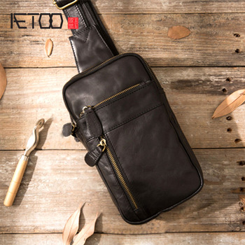 AETOO Genuine Leather Men Bag male chest bag travel shoulder Man Crossbody Bags Messenger Bags Men Phone Sling Chest Pack qibolu genuine leather mens sling bag single shoulder bag men chest pack messenger crossbody bag for man bolsas masculina mba37