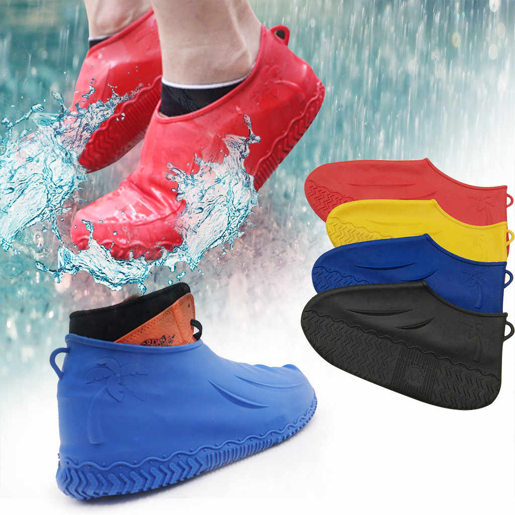 Rubber Waterproof Shoe Cover Outdoor Rainproof Hiking Non-Slip Shoe Cover Reusable Foldable Thickened Rain Shoe Boots Overshoes